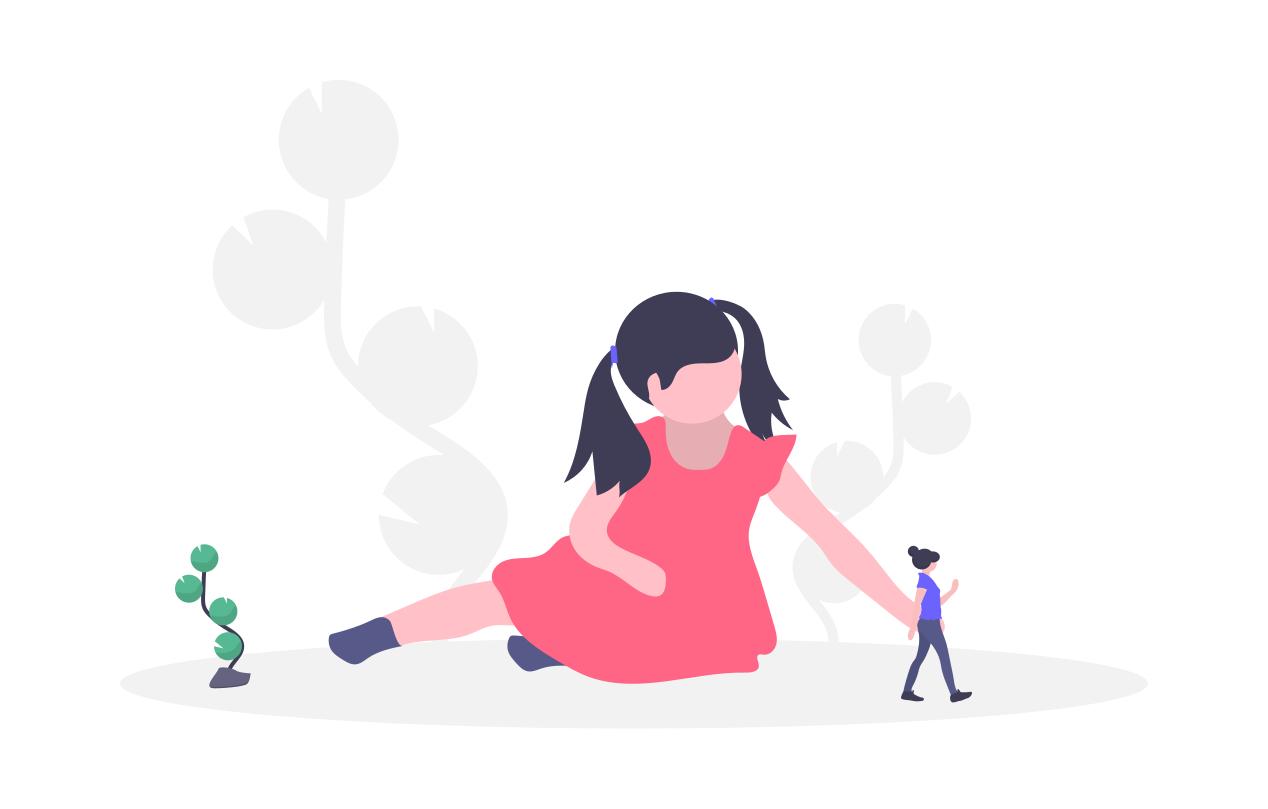 女の子が人形で遊んでいる